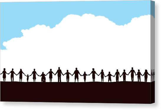 Community, People In A Row Holding Hands Canvas Print by KeithBishop