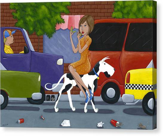 Great Danes Canvas Print - Commuting by Christy Beckwith