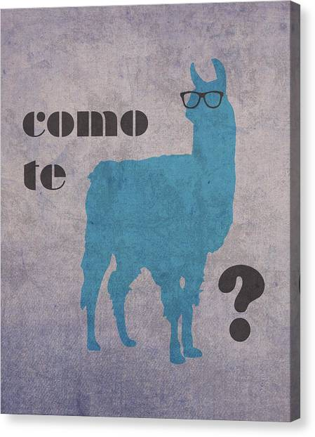 Llamas Canvas Print - Como Te Llamas Humor Pun Poster Art by Design Turnpike