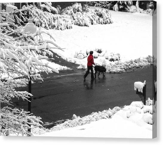 Companions Walking On Christmas Morning Canvas Print