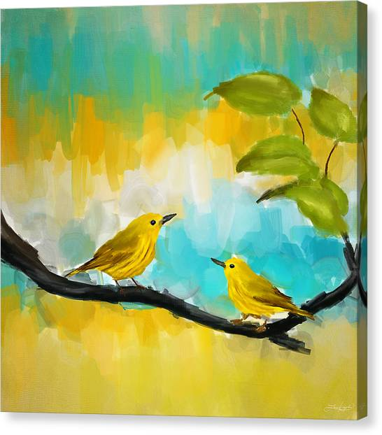 Canaries Canvas Print - Companionship by Lourry Legarde
