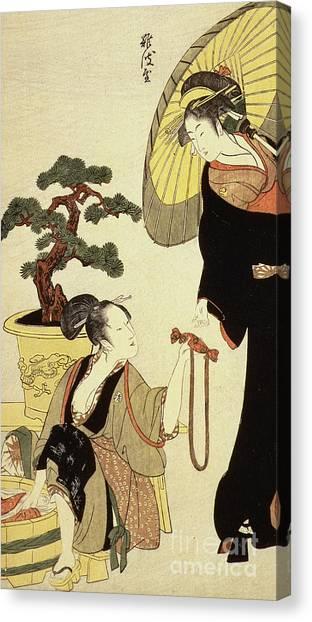 Japanese Umbrella Canvas Print - Comparison Of Celebrated Beauties And The Loyal League by Kitagawa Utamaro