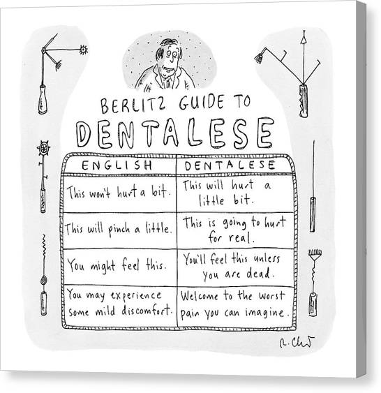 Dentists Canvas Print - Comparison Of What Dentist Says And The Reality by Roz Chast