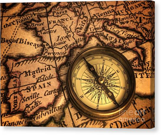 Compass And Ancient Map Of Europe Canvas Print
