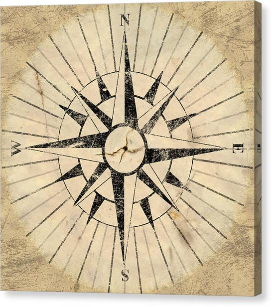 Map Canvas Print - Compass Face by Allan Swart