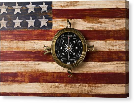 Gay Flag Canvas Print - Compass On Wooden Folk Art Flag by Garry Gay