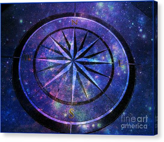 Compass With A Galaxy Canvas Print