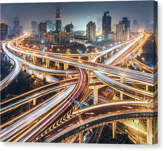 Highways Canvas Print - Composition Of The City by Kevin Jiang
