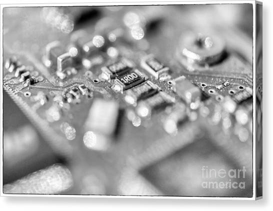It Professional Canvas Print - Computer Board High Key Black And White by Iris Richardson