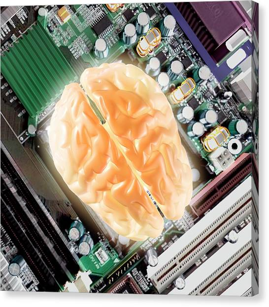 Computer Science Canvas Print - Computer Brain by Christian Darkin