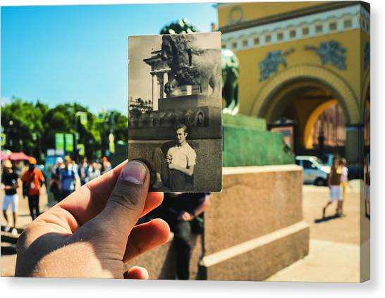Conceptual Comparison With Old Photograph Outdoors Canvas Print by Georgy Dorofeev / EyeEm