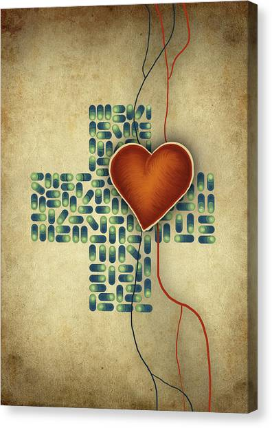 Conceptual Illustration Of Heart Over Cross Shaped Capsules Canvas Print by Fanatic Studio / Science Photo Library