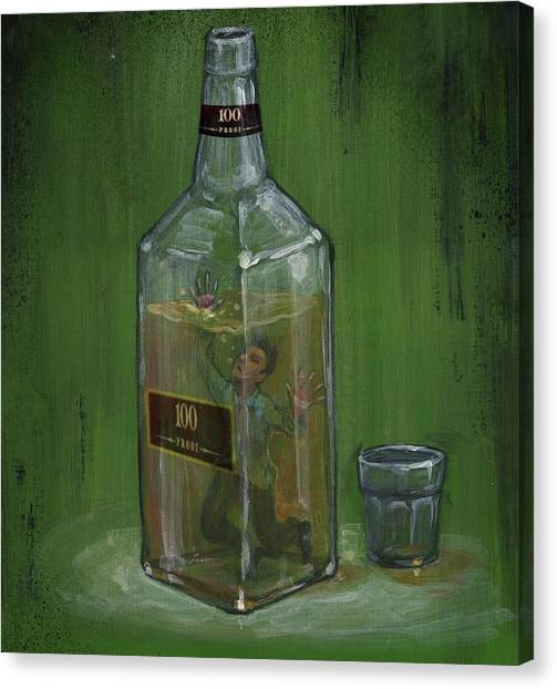 Drown Canvas Print - Conceptual Illustration Of Man Drowning In Alcohol Bottle by Fanatic Studio / Science Photo Library