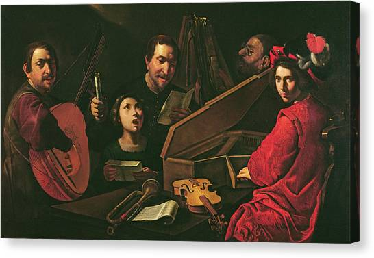 Lute Canvas Print - Concert With Musicians And Singers, C.1625 Oil On Canvas by Pietro Paolini