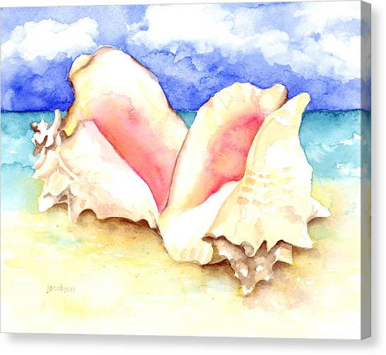Conch Shells On Beach Canvas Print