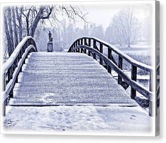Concord Bridge In Winter Canvas Print by Bill Boehm