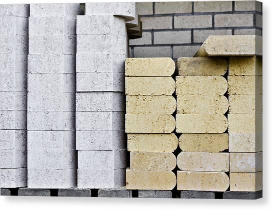 Brick Sidewalk Canvas Print - Concrete Slabs by Tom Gowanlock