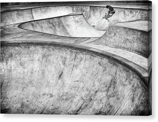 Skateboarding Canvas Print - Concrete Slider by Tomer Eliash