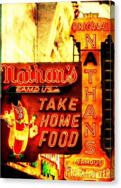 Hot Dogs Canvas Print - Coney Island Institution by Jon Woodhams