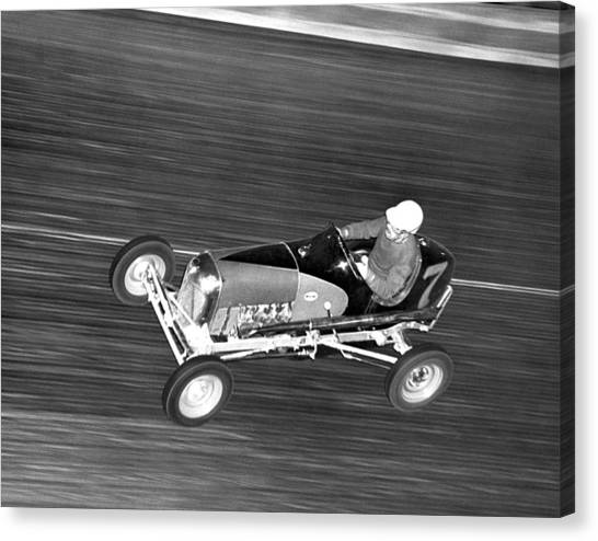 Racecar Drivers Canvas Print - Coney Island Midget Race Car by Underwood Archives