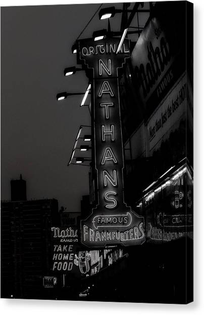 Hot Dogs Canvas Print - Coney Island Noir by Jon Woodhams
