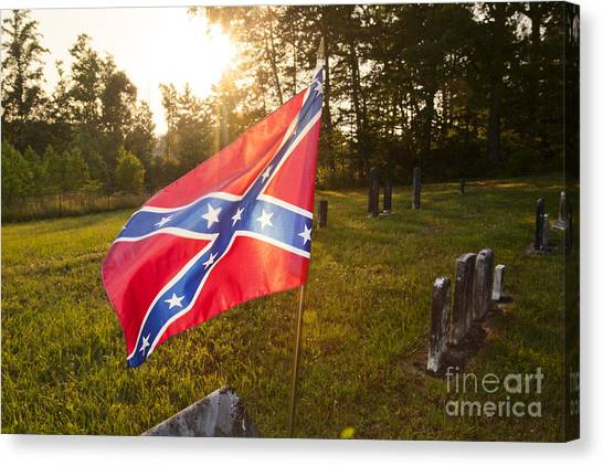 Confederate Flag In An Old Cemetery Canvas Print by Jonathan Welch