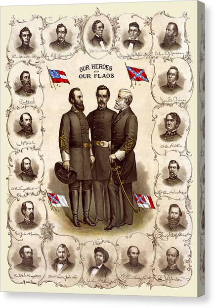 Confederate Generals And Flags Canvas Print