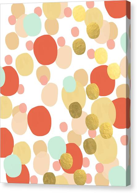 Peaches Canvas Print - Confetti- Abstract Art by Linda Woods