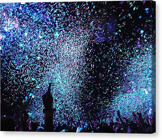 Confetti Falling On Crowd At Concert Canvas Print by Natalia Martin Rivero / Eyeem