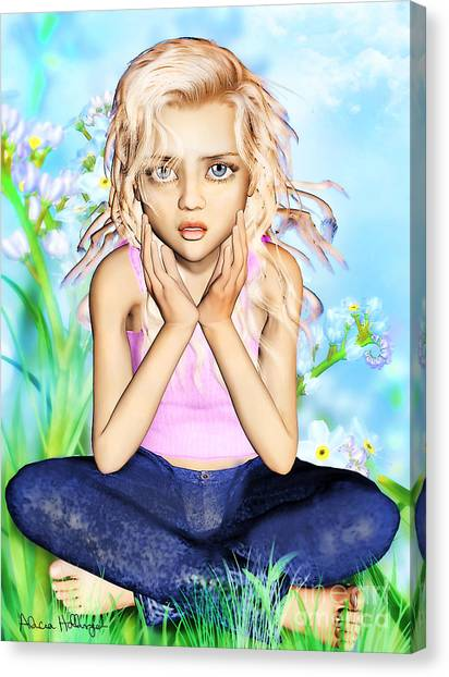 Confused Little Girl Canvas Print