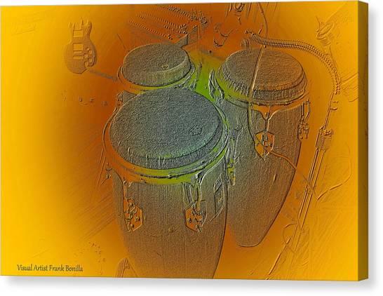 Canvas Print featuring the digital art Congas by Visual Artist Frank Bonilla