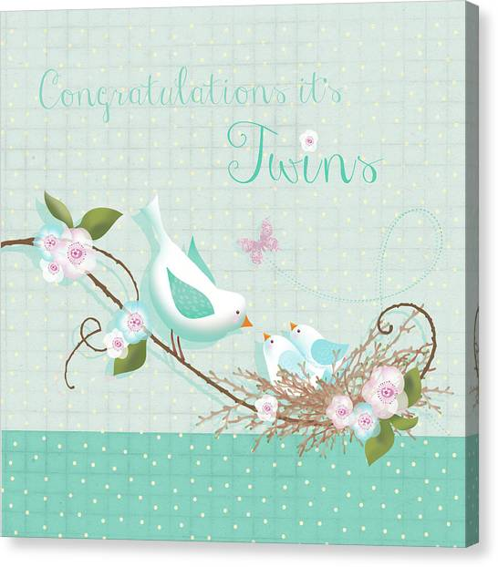 New Baby Canvas Print - Congrats - Twins by P.s. Art Studios