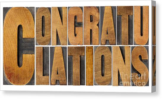 Congratulations In Wood Type Canvas Print