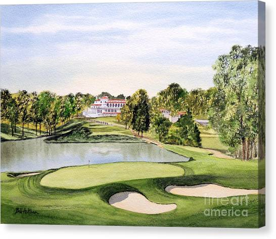 Tiger Woods Canvas Print - Congressional Golf Course 10th Hole by Bill Holkham