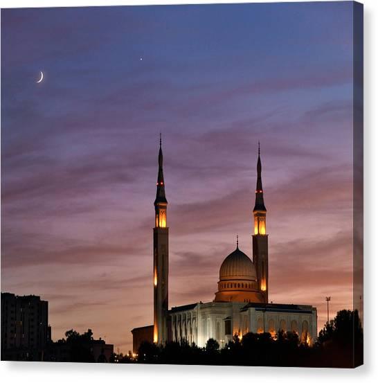 Emir Canvas Print - Conjunction Of Moon & Venus by Babak Tafreshi/science Photo Library