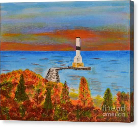 Fall, Conneaut Ohio Light House Canvas Print