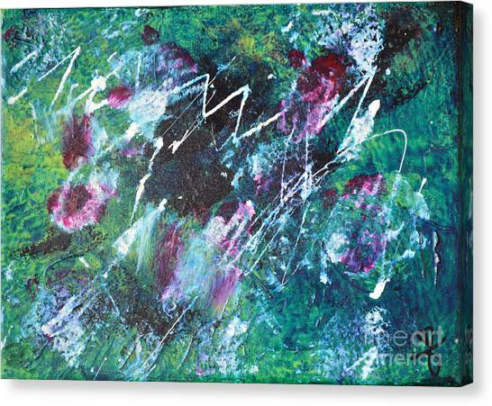 Connected Blue Green Abstract By Chakramoon Canvas Print by Belinda Capol
