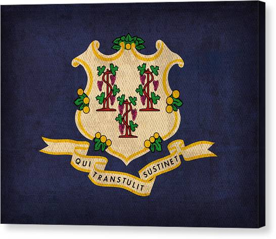 Connecticut Canvas Print - Connecticut State Flag Art On Worn Canvas by Design Turnpike