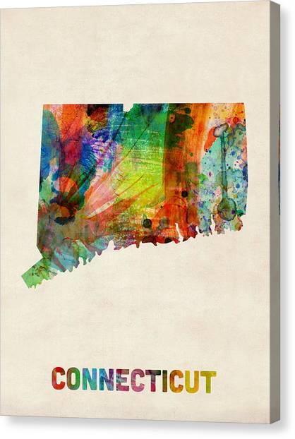 Connecticut Canvas Print - Connecticut Watercolor Map by Michael Tompsett