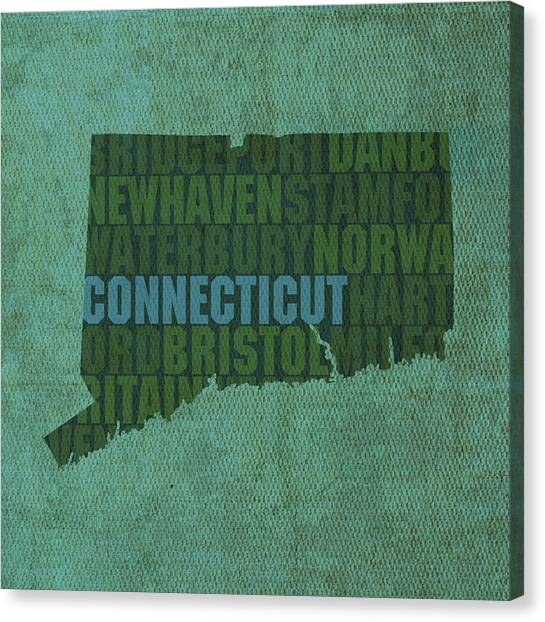 Connecticut Canvas Print - Connecticut Word Art State Map On Canvas by Design Turnpike