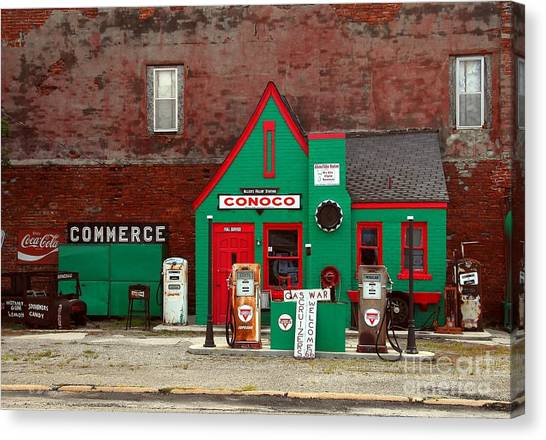 Canvas Print featuring the photograph Conoco Station On Route 66 by Mel Steinhauer