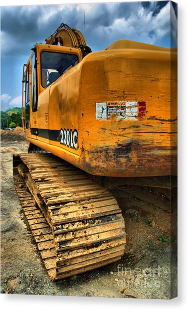 Backhoes Canvas Print - Construction Excavator In Hdr 1 by Amy Cicconi