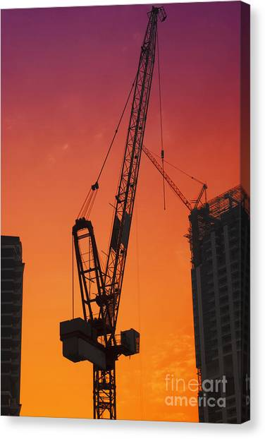 Dubai Skyline Canvas Print - Construction Site by Jelena Jovanovic