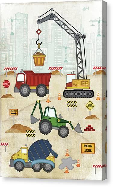 Dump Trucks Canvas Print - Construction Site by Jennifer Pugh
