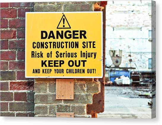 Caution Canvas Print - Construction Site by Tom Gowanlock