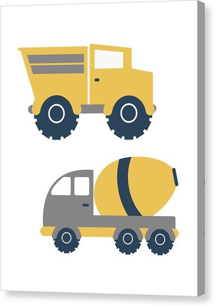 Dump Trucks Canvas Print - Construction Trucks II by Tamara Robinson