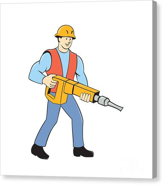 Jackhammers Canvas Print - Construction Worker Holding Jackhammer Cartoon by Aloysius Patrimonio
