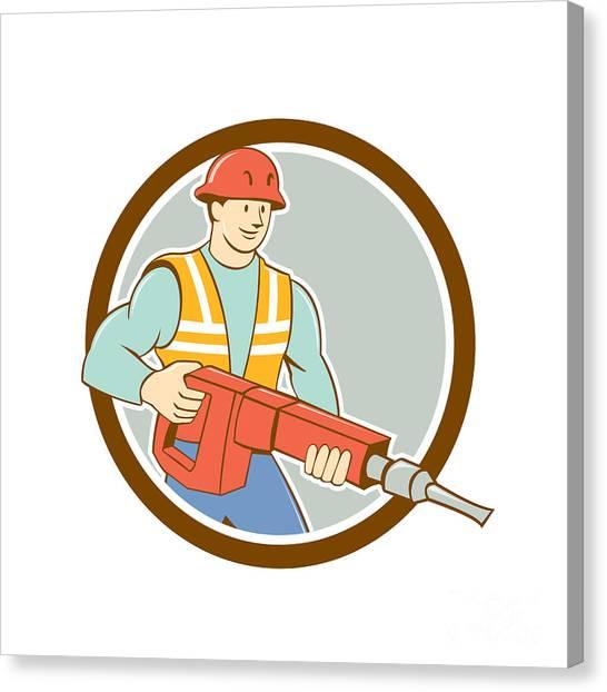 Jackhammers Canvas Print - Construction Worker Jackhammer Circle Cartoon by Aloysius Patrimonio