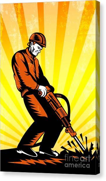 Jackhammers Canvas Print - Construction Worker Jackhammer Retro Poster by Aloysius Patrimonio