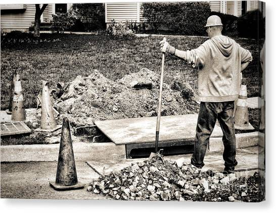 Shovels Canvas Print - Construction Worker by Olivier Le Queinec